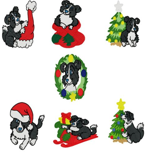 Christmas Border Collie 24 00 Sharsations Embroidery