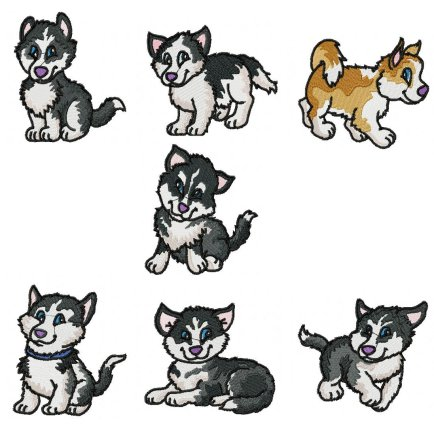 Siberian Husky Embroidery Collection : 7 files
